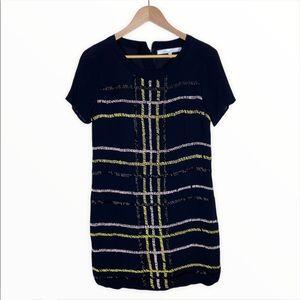 Lovers + Friends Black Plaid Beaded Mini Dress